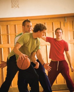 Mormon youth playing basketball
