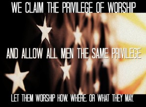 The flag of the United States with a quote about religious freedom.