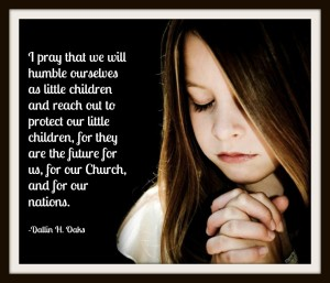 Child praying and quote about prayer from Dallin H. Oaks