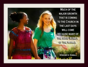 Two Mormon sister missionaries walking and a quote from Spencer Kimball about growth of the Mormon Church.