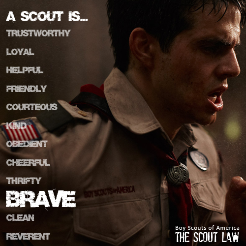 A scout is Trustworthy, Loyal, Helpful, Friendly, Courteous, Kind, Obedient, Cheerful, Thrifty and Brave