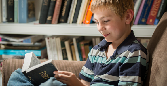 Boy Reading Bible Mormon