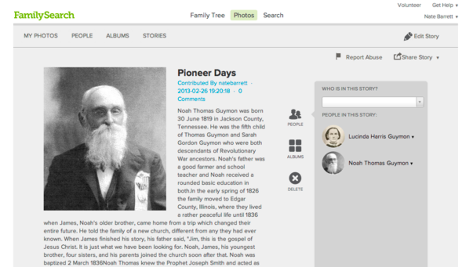 LDS FamilySearch Stories Page