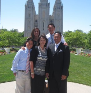 Ken Niumatalolo Family at Salt Lake Temple