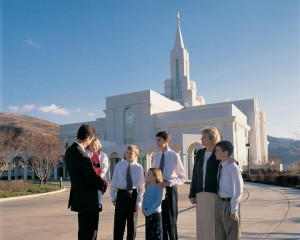 Mormon Family at the Temple