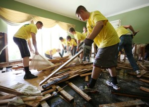 Mormon Helping Hands provide disaster relief after major flooding in Houston, Texas.